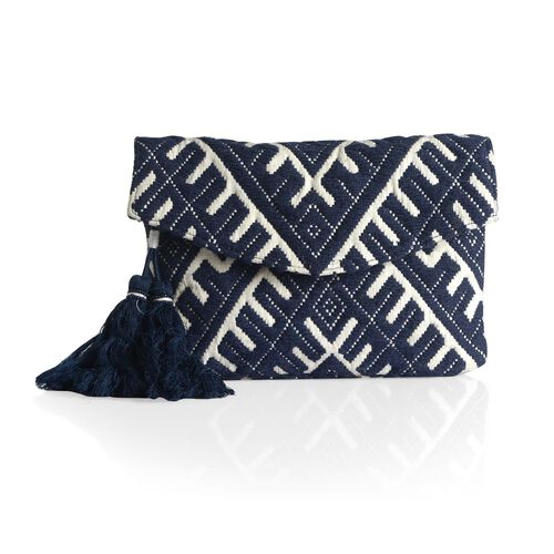 Navy and White Colour Hand Bag (Size 25x19 Cm)