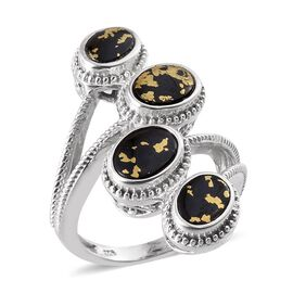Goldenite (Ovl) Crossover Ring in Platinum Overlay Sterling Silver 2.750 Ct.