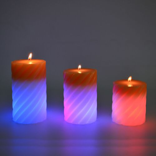 Set of 3 - Yellow and White Colour Magic Colour Changing LED Scented Vanilla Fragrance Wax Candle (Size 12x7 Cm, 10x7 and 7.5x7 Cm)