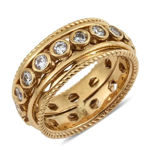 J Francis - 14K Gold Overlay Sterling Silver (Rnd) Spiner Ring Made with SWAROVSKI ZIRCONIA, Silver wt 8.77 Gms.