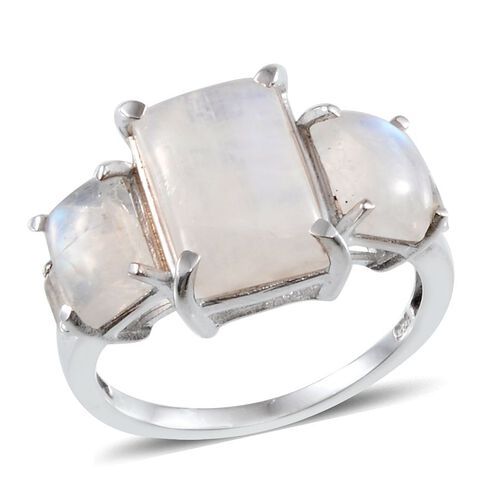 Ceylon Rainbow Moonstone (Bgt 5.75 Ct), White Topaz Ring in Platinum Overlay Sterling Silver 9.000 Ct.
