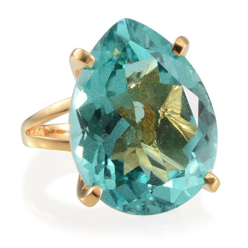 Paraiba Tourmaline Colour Quartz (Pear) Solitaire Ring in 14K Gold Overlay Sterling Silver 28.000 Ct.