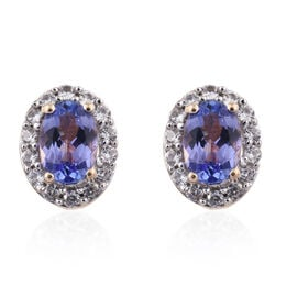 9K Yellow Gold 1.25 Carat AA Tanzanite, Cambodian Zircon Stud Earrings with Push Back