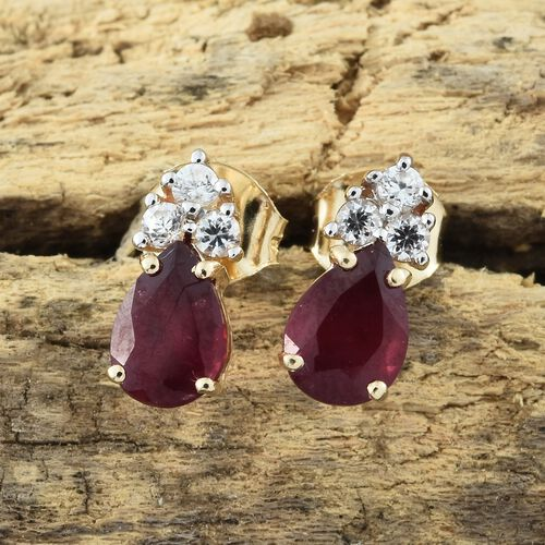 9K Yellow Gold AA African Ruby (Pear), Natural Cambodian Zircon Earrings (with Push Back) 2.000 Ct.