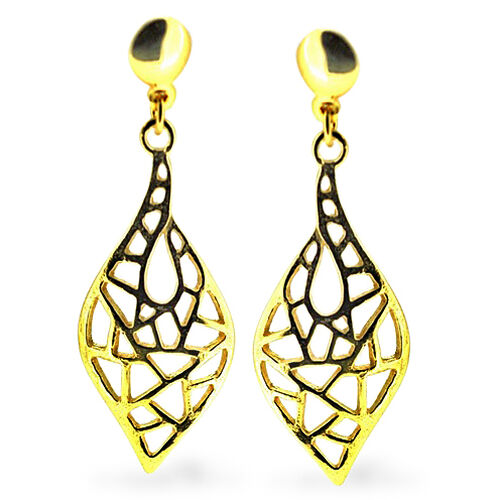 Thai 14K Gold Overlay Sterling Silver Earrings (with Push Back), Silver wt 4.00 Gms.