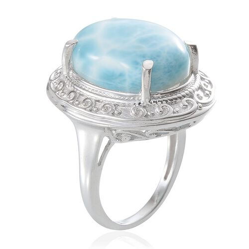 Larimar (Ovl) Solitaire Ring in Platinum Overlay Sterling Silver 14.250 Ct.