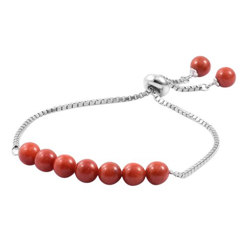 Red Jade Ball Beads Bolo Bracelet (Size 6.5 to 7.5) in Rhodium Plated Sterling Silver 17.690 Ct.