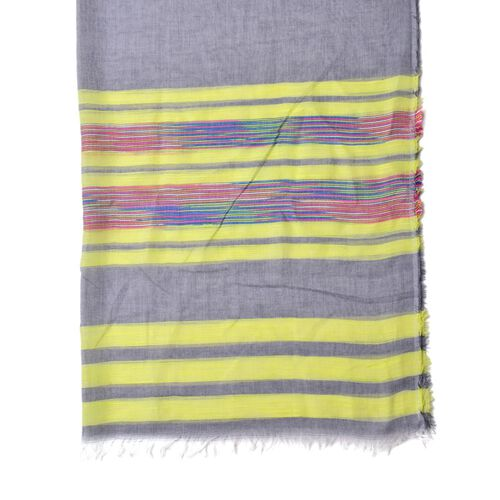 Pink, Yellow, Blue and Multi Colour Stripe Pattern Grey Colour Scarf (Size 200x90 Cm)