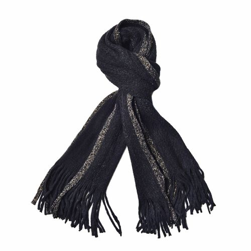 Black Colour Scarf with Sequins and Tassels (Size 160x60 Cm)