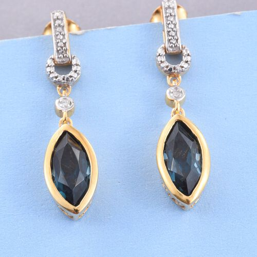 Indicolite Quartz (Mrq), Diamond Earrings (with Push Back) in 14K Gold Overlay Sterling Silver 4.000 Ct.