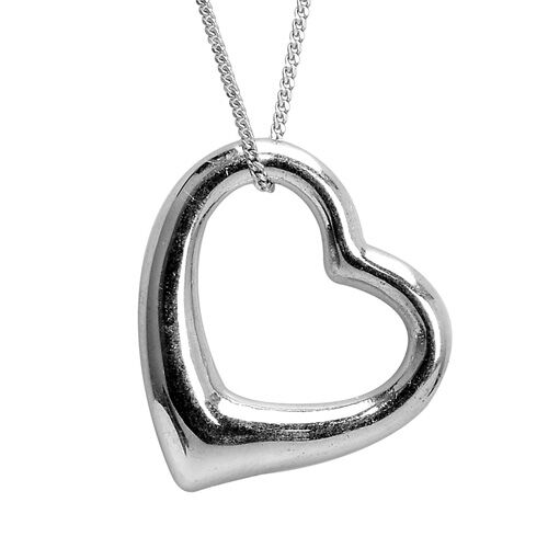 Platinum Overlay Sterling Silver (Set of 2) Heart Shape Pendant With Chain Silver wt. 5.64 GM
