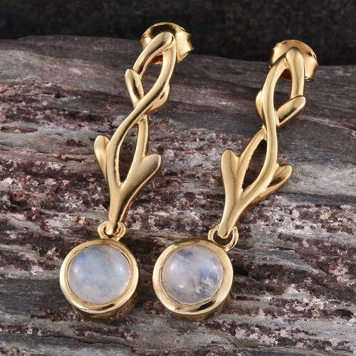Natural Rainbow Moonstone (Rnd) Earrings in 14K Gold Overlay Sterling Silver 4.250 Ct.