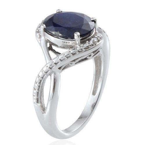 Diffused Blue Sapphire (Ovl 2.75 Ct), Diamond Ring in Platinum Overlay Sterling Silver 2.760 Ct.