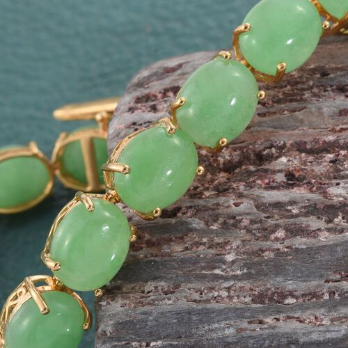 Green Jade (Ovl) Bracelet (Size 7.75) in 14K Gold Overlay Sterling Silver 67.250 Ct.