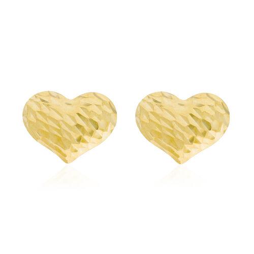 Italian Made 9K Yellow Gold Diamond Cut Heart Stud Earrings (with Push Back)