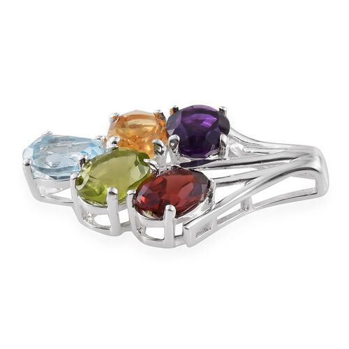 Sky Blue Topaz (Ovl), Mozambique Garnet, Hebei Peridot, Citrine and Amethyst Pendant in Sterling Silver 4.250 Ct.