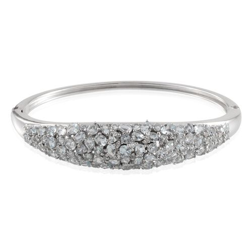 AA Espirito Santo Aquamarine (Ovl), Diamond Bangle in Platinum Overlay Sterling Silver (Size 7.5) 8.150 Ct.