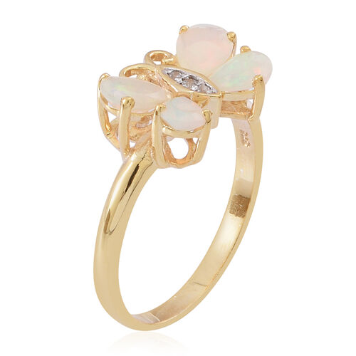 Ethiopian Welo Opal (Pear), Natural Cambodian White Zircon Butterfly Ring in 14K Gold Overlay Sterling Silver 1.500 Ct.
