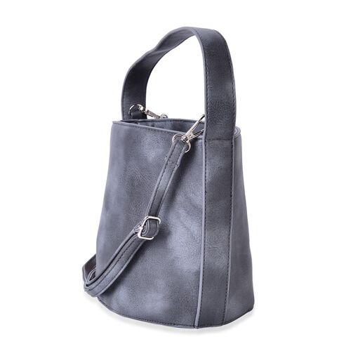 Grey Colour Tote Bag with Adjustable and Removable Shoulder Strap (Size 19x18x15 Cm)