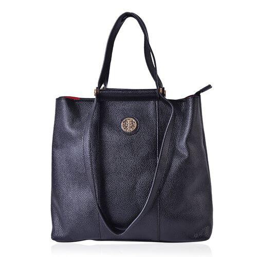 Black Colour Tote Bag with Shoulder Strap (Size 33x30.5x13.5 CM)