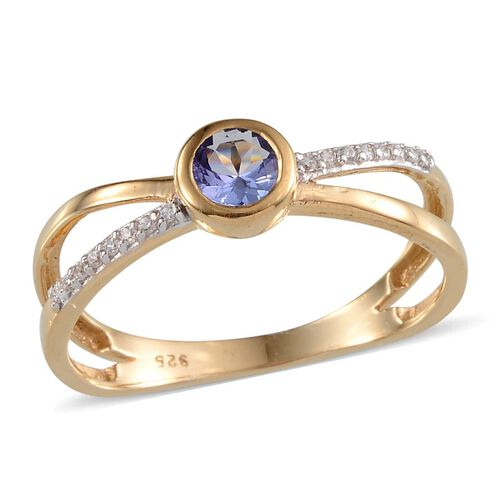 Tanzanite (Rnd 0.50 Ct), Simulated Diamond Ring in 14K Gold Overlay Sterling Silver 0.600 Ct.