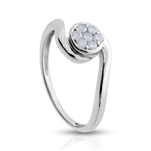 9K White Gold SGL Certified Diamond Round (I3/G-H) 7 Stone Floral Ring 0.200 Ct.