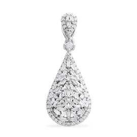 9K White Gold SGL Certified Diamond (Rnd and Bgt) (I3/G-H) Drop Pendant 0.500 Ct.