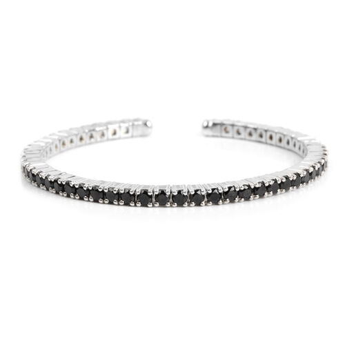 7.26 Ct Boi Ploi Black Spinel Bangle in Platinum Plated Silver 14.90 gms 6.25 Inch