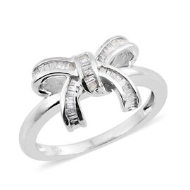 Mega Birthday Deal-Diamond (Bgt) Bow Knot Ring in Platinum Overlay Sterling Silver 0.330 Ct.