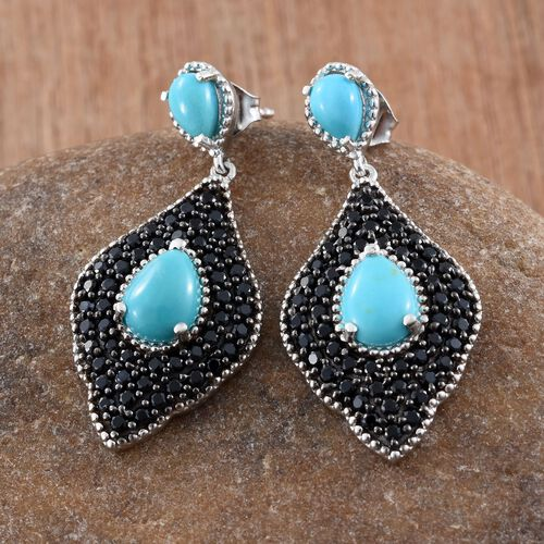 Arizona Sleeping Beauty Turquoise (Pear), Boi Ploi Black Spinel Earrings (with Push Back) in Platinum Overlay Sterling Silver 6.750 Ct.