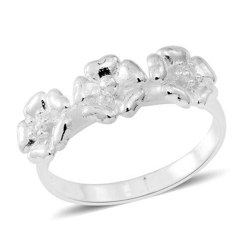 Designer Inspired- Sterling Silver Triple Flower Ring, Silver wt 3.10 Gms.