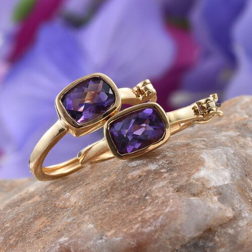 AA Lusaka Amethyst (Cush) Hoop Earrings (with Clasp) in 14K Gold Overlay Sterling Silver 2.250 Ct.