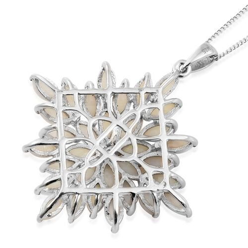 Australian White Opal (Mrq) Cluster Pendant with Chain in Platinum Overlay Sterling Silver 4.750 Ct. Silver wt 6.06 Gms.