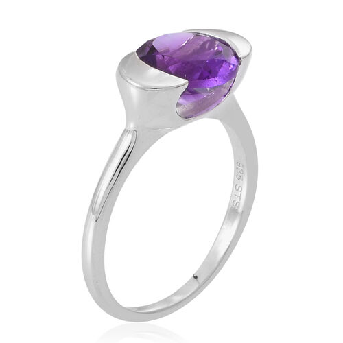 Amethyst (Rnd) Solitaire Ring in Sterling Silver 2.500 Ct.