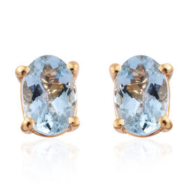 Espirito Santo Aquamarine (Ovl) Stud Earrings (with Push Back) in 14K Gold Overlay Sterling Silver 0.750 Ct.
