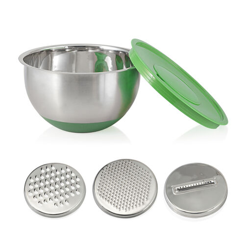 Kitchen Utensils - 1 Pc Splash Bowl, 3 Pcs Graters, 3 Pcs Mixing Bowls with Green Lids, 4 Pcs Prep Bowls, 4 Pcs Measuring Cups, 4 Pcs Measuring Spoons, 1 Pc Whisk and 1 Pc Colander in Stainless Steel