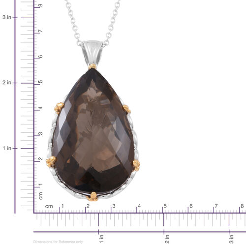 Limited Edition-Show Stopper Brazilian AAA Smoky Quartz (Pear) Pendant With Chain (Size 30) in Rhodium and Gold Overlay Sterling Silver 140.000 Ct., Silver wt 21.00 Gms.
