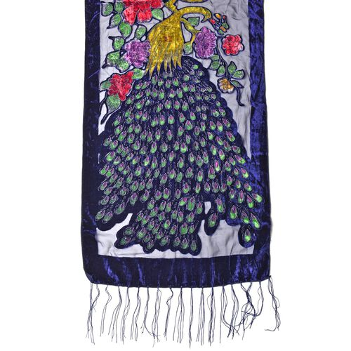 Designer Inspired - Dark Blue, Green and Multi Colour Peacock and Floral Pattern Scarf with Tassels (Size 158X50 Cm)