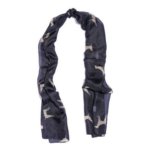 100% Mulberry Silk Black and Cream Colour Hand Screen Dogs Printed Scarf (Size 180X50 Cm)