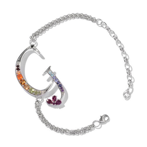 Rhodolite Garnet (Ovl), Citrine, Paraiba Apatite, Jalisco Fire Opal, Hebei Peridot and Multi Gemstone Initial G Bracelet (Size 9 with Extender) in Platinum Overlay Sterling Silver 1.468 Ct.