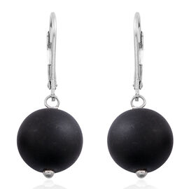 Super Bargain Price-Black Onyx (Rnd) Lever Back Earrings in Rhodium Plated Sterling Silver 24.000 Ct.