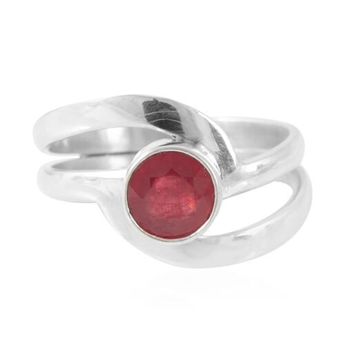 Royal Bali Collection African Ruby (Ovl) Crossover Ring in Sterling Silver 1.960 Ct.