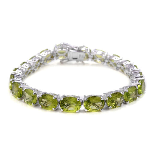 Hebei Peridot (Ovl) Bracelet in Rhodium Plated Sterling Silver (Size 7) 40.000 Ct.