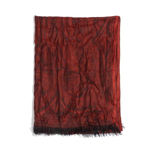 100% Modal Self Design Red Colour Scarf (Size 70x180 Cm)
