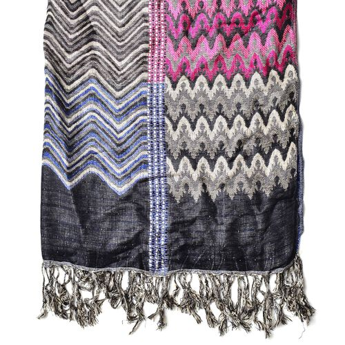 Pink, Black, Blue and Multi Colour Zig Zag Pattern Scarf with Tassels(Size 180x70 Cm)