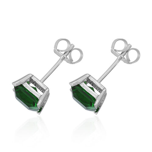 Set of 3 - ELANZA AAA Simulated Ruby (Sqr), Simulated Emerald and Simulated Tanzanite Stud Earrings (with Push Back) in Rhodium Plated Sterling Silver