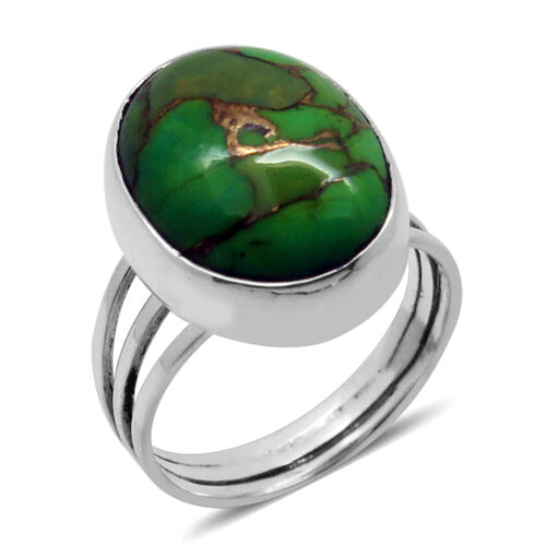 Royal Bali Collection Mojave Green Turquoise (Ovl) Solitaire Ring in Sterling Silver 7.870 Ct.