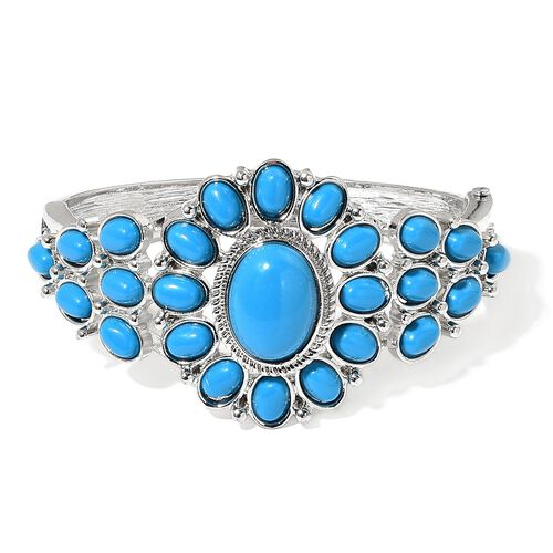 Designer Inspired - Blue Howlite Egyptian Style Bangle (Size 7.5) in Silver Tone 50.000 Ct.