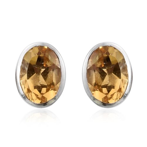 Citrine (Ovl) 1.50 Carat Silver Stud Earrings in Platinum Overlay (with Push Back)