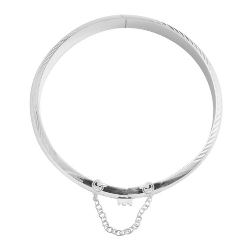 JCK Vegas Collection Sterling Silver Diamond Cut Bangle (Size 7), Silver wt 8.00 Gms.